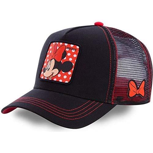 Gorra de béisbol de algodón Snapback de Dibujos Animados para Hombres, Mujeres, Hip Hop, papá, Gorra de Malla, Gorra de Camionero-Minnie Black Red