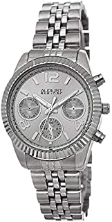 August Steiner Women's Classic Coin Edge Bezel Watch - Dial with Day of Week, Date, and 24 Hour Subdial on Tone Stainless ...