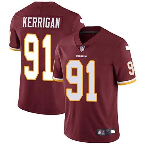 LAMBO NFL Jersey T-Shirt Herren Washington Redskins 21# 91# 24# American Football Sweatshirt Fußball Jersey Kurzarm Sport Top Sportbekleidung (red-91,XXL)