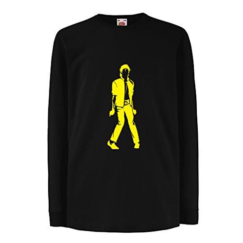 lepni.me Camiseta para Niño/Niña Me Encanta M J - Rey del Pop, 80s, 90s Músicamente Camisa, Ropa de Fiesta (12-13 Years Negro Amarillo)