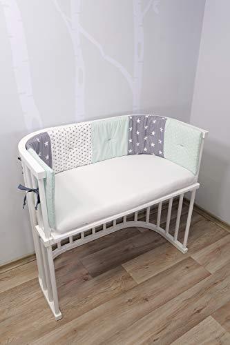 Baby Nestchen für Beistellbett (halbrund) | Made in EU | ÖkoTex 100 | Schadstoffgeprüft | Antiallergisch | Baby Bettumrandung | Babynest | Mint Grau | 145 x 24cm | ULLENBOOM ®