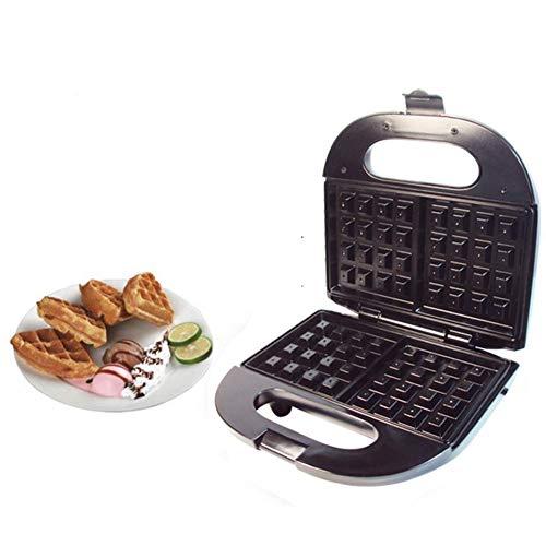 JZH-kitchen wafelijzer diep vullen met gemakkelijk te reinigen keramische platen met antiaanbaklaag, automatische temperatuurregeling, 750 W, zilverzwart