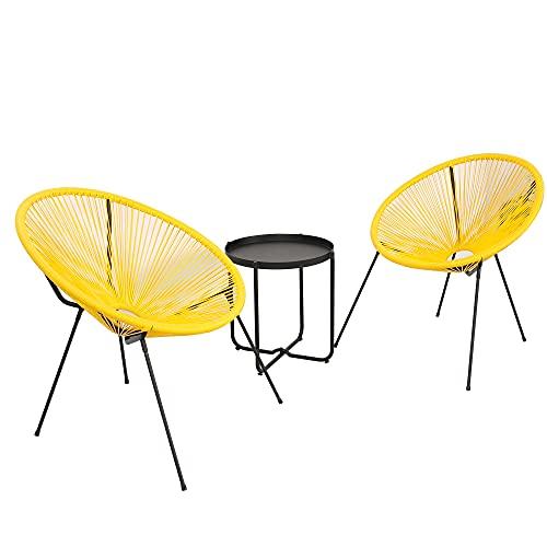 DlandHome Set de 2X Sillas con Mesa, Sillas Redondas Acapulco, Estructura de Acero, Estilo Retro, Muebles Exterior Jardín Patio Terraza,amarillo