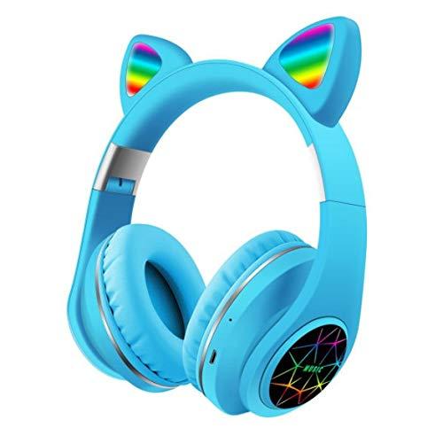Samvardhan Cat Ear Wireless Bluetooth Unicorn Headphones with Built in Mic & FM for Kids (Blue)