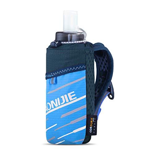 TRIWONDER Bolsa de Mano para Botella de Agua Nylon Bolso de Mano con 420ml Botella Blanda para Maratón Ciclismo Senderismo Running (Azul)
