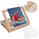 Kurtzy Table Easel & Painting Set - Portable Wooden Tabletop Easel, Paint Palette, 12 Paint Brushes & 12 Canvas Panels - Professional Art, Sketching & Drawing Kit for Beginner Kids & Adult Artists