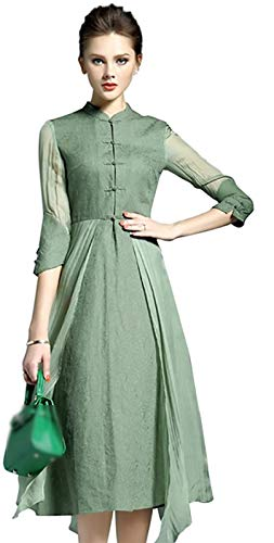 Women's Vintage Linen Cotton 3/4 Sleeves 2 in 1 design A Line Casual Swing Dress