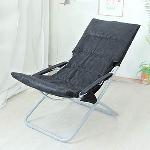 RAPLANC Balkon Freizeit Klappstuhl, Büro Siesta Rückenlehne Portable Liegestuhl Krankenhaus begleitet Ruhestuhl + Kissen, Multi-Color optional,Schwarz