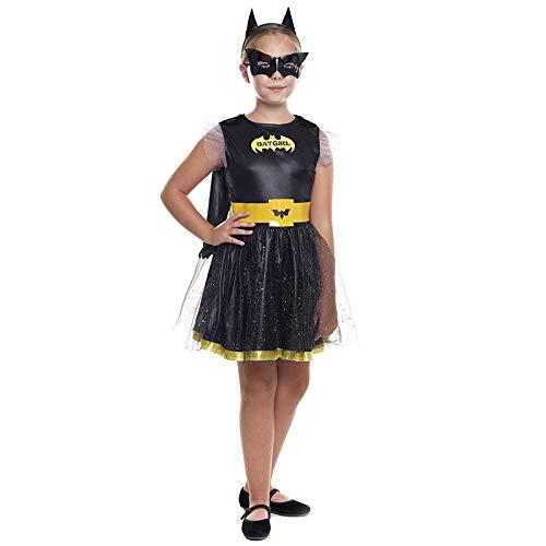 Disfraz Superheroína Niña Bat Girl Murciélago【Tallas Infantiles de 3 a 12 años】[Talla 5-6 años] | Disfraces Niñas Superhéroes Carnaval Halloween Regalos Niños Cosplay Cómics