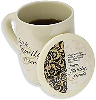 Faith, Family and Friends Coffee, Tea, Hot Chocolate, or Latte Mug Cup (Beige)