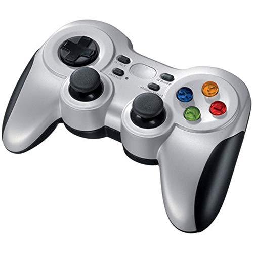 Ouqian Manette de Jeu Double Vibration Gamepad contrôleur de Jeu sans Fil Bluetooth Gamepad Peut être utilisé for Ordinateur Mobile Gaming Portable Joystick Poignée (Couleur : Silver, Size : M)