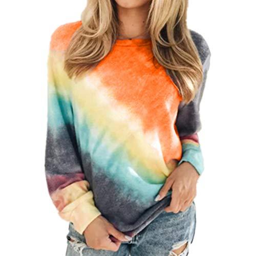 Primavera y otoño para Mujer Blusa de Manga Larga Informal Moda Casual Suéter de algodón con teñido Anudado Suéter de Cuello Redondo Camiseta de Invierno Suelta de Gran tamaño Tops Top
