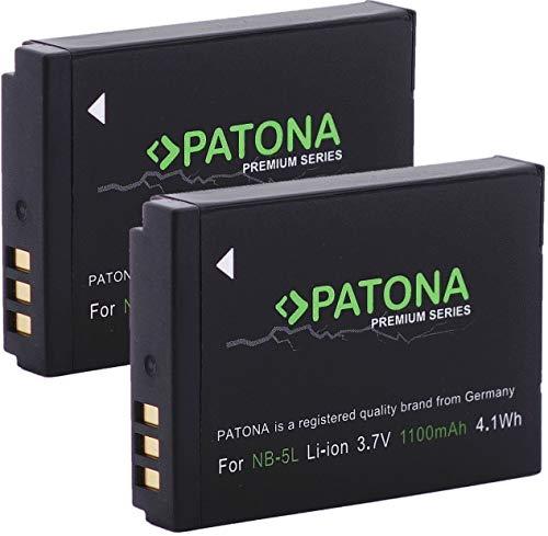 PATONA Premium - (2X) Ersatz für Akku Canon NB-5L (echte 1100mAh) zu PowerShot SX230 SX220 SX210 SX200 S100 S110 usw.