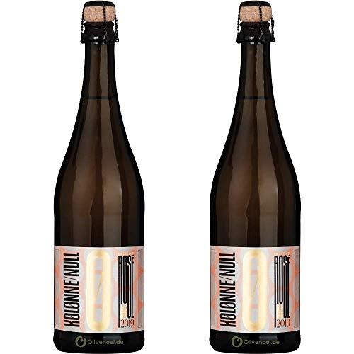 Kolonne Null - Prickelnd Rosé - Schäumendes Getränk aus Alkoholfreiem Wein vom Weingut Wasem - 0% Vol. Alk - 2er Pack - 2x 750ml Flasche