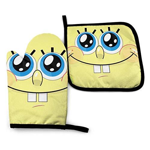2PCS Ofenhandschuhe und Topflappen SpongeBob Hitzebeständige Topfhandschuhe Anti-Rutsch für Kochen, Backen, Grillen, Grau