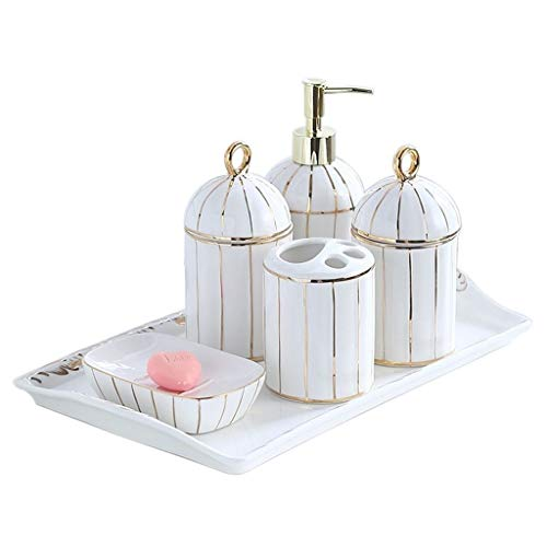YCSX Lotion Liquid Dispenser Soap 6-Piece Ceramic Bathroom Accessories Set Countertop Soap Dispenser Soap Dish Mouth Cup Toothbrush Holder Storage Tray (White) Lotion Bottle