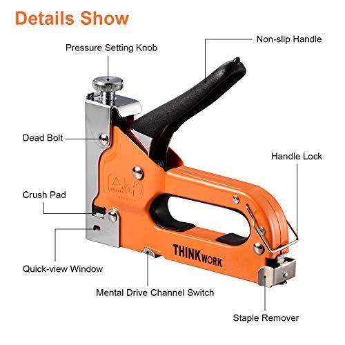 THINKWORK 3-in-1 Staple Gun, Nailer Gun with 2100 Staples and Stapler Remover, Manual Stapler, Heavy Duty Staple Kit for Upholstery, Fixing Material, DIY,Decoration, Carpentry, Furniture. Photo #2