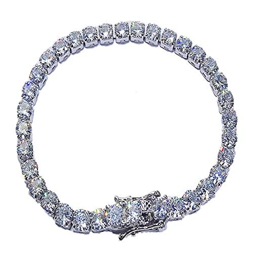 LYNLYN Bracelets Platinum Plated 925 Silver Created Gemstone Diamond Tennis Bracelet for Women Wedding Fine Jewelry White Stone 15cm (Color : White Stone)