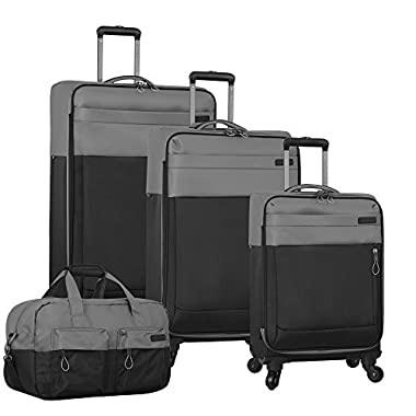 Nautica Harpswell 4 Piece Luggage Set, Grey/Black