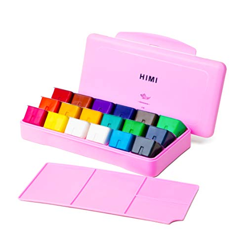 HIMI Gouache Paint Set 18 Colors (30ml/Pc) Paint Set Unique Jelly Cup Design Non Toxic Paints for Artist, Hobby Painters & Kids, Ideal for Canvas Painting for Novelty Gift(Pink)