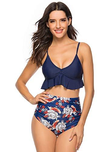 Voqeen Costume da Bagno Donna Push Up Imbottito Reggiseno Bikini Due Pezzi Swimwear Abiti da Spiaggia Vita Alta Beachwear Bendare Regolabile Tankini Mare e Piscina