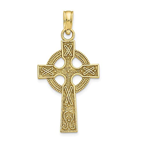 Solid 10k Yellow Gold Celtic Knot Irish Claddagh Cross Eternity Circle Pendant Charm