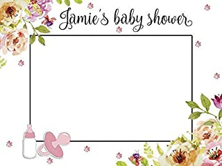 Custom Home Decor Floral Baby Shower Photo Booth Prop - Sizes 36x24, 48x36; Personalized Social Media Style Baby Shower Photo Booth Frame, Baby shower decorations; Handmade Nursery Decor