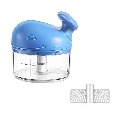 QAH Manuelle Lebensmittelhackmaschine, Knoblauchmühle Mixer Mixer, Zugschnur Manuelle Handhackmaschine zum Hacken von Gemüse Obst Zwiebeln Knoblauch(Blue)