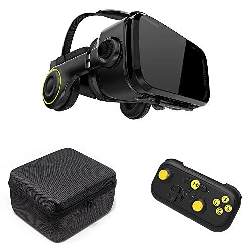 VR Shark X4 Gafas de Realidad Virtual & Gamepad & Funda - Casco de RV para Smartphone 4.7 - 6.2 | Compatible con Samsung   LG   Moto   Huawei   ASUS [FOV 120° | Android | Visor 360° | Nomad]