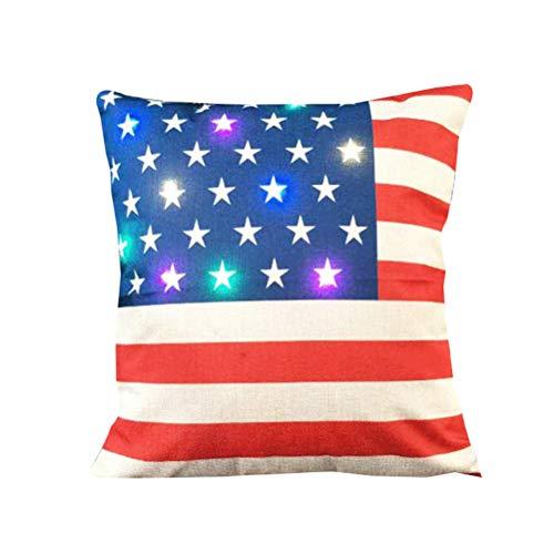 LIOOBO Fodera per Cuscino in Lino 45 x 45 cm Modello di Bandiera Americana Divano Posteriore Fodere per Cuscino Fodera per Cuscino per Ufficio Senza Anima per Cuscino Decorazione Natalizia
