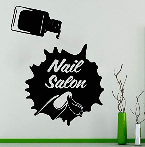 Nail Salon Sticker Mural Salon De Beauté Femme Ongles Polonais Éclaboussures Encre Art Décoration Manucure Conception Vinyle Fenêtre Autocollants 57X72 Cm