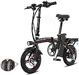 RDJM Bici electrica Bicicletas eléctricas rápida for adultos Ligero y plegable de aluminio E-bicicleta con pedales ayuda de la energía y 48V de iones de litio bicicleta eléctrica con un 14 pulgadas ru