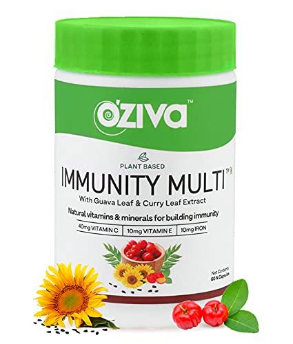 OZiva Immunity Multi (Plant Based MultiVitamins A, C, D3, E, Minerals Iron, Zinc, Guava Leaf & Curry Leaf extracts) to boost immunity, 60 veg Capsules