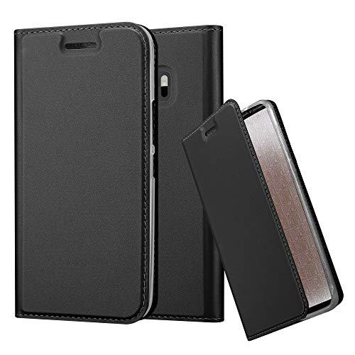 Cadorabo Hülle für HTC One M10 - Hülle in SCHWARZ – Handyhülle mit Standfunktion & Kartenfach im Metallic Erscheinungsbild - Hülle Cover Schutzhülle Etui Tasche Book Klapp Style
