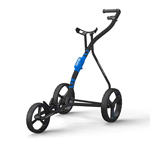 WISHBONE ONE - Carrello da golf pieghevole, 3 ruote, per borsa da golf, super leggero e facile da piegare, sistema a 3 ruote, flessibile, per tutte le borse e set da golf (colore blu carbone)