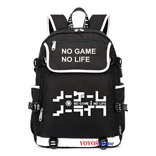 YOYOSHome Rucksack, japanisches Anime-Design, für Cosplay, Laptop, Rucksack und Schultasche, No Game No Life (Schwarz) - yyyo3