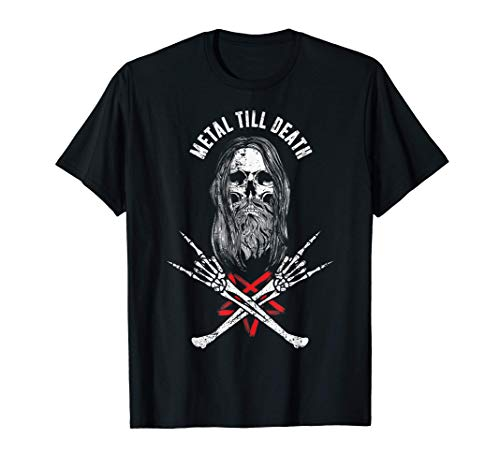 Rock Heavy Metal Till Death - Bearded Skull Metalhead T-Shirt
