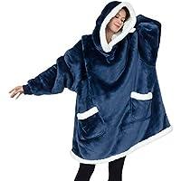 Bedsure Standard Wearable Blanket Sweatshirt with Deep Pockets and Sleeves (Navy)