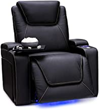 Seatcraft Pantheon - Big & Tall - Home Theater Seating - 400 lbs Capacity - Top Grain Leather - Power Recliner - Powered Headrest and Lumbar - Cupholders - Arm Storage, Black