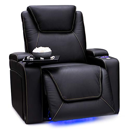 Seatcraft Pantheon Big & Tall Home Theater Seating - Top Grain Leather - Power Recline - Powered Headrest - Power Lumbar - SoundShaker - 400 lbs Capacity - Cupholders (Single Recliner, Black)