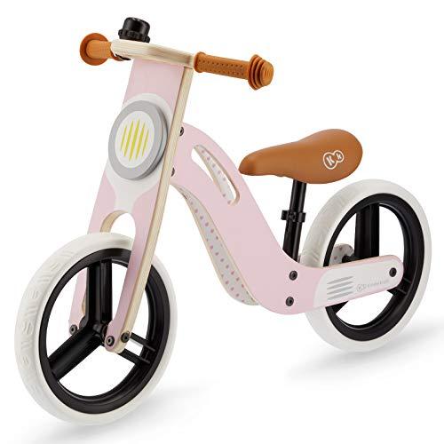 Kinderkraft Laufrad UNIQ, Lernlaufrad, Kinderlaufrad aus Holz, Superleichte 2,7 kg, Lauflernrad für Kinder, Kinderrad mit Tragegriff und Klingel, 12 Zoll Räder, ab 2 Jahre bis zu 35kg, Rosa
