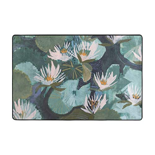 Hand Painted Lotus Area Rugs Living Room Bedroom Kitchen Dining Hallway Office Door Carpet with A Non-Slip Backing Super Absorbent Mud and Water Door Rugs 36x24in