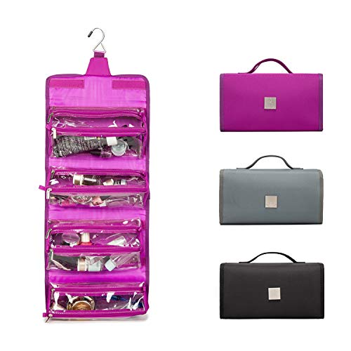 ROYALFAIR Hanging Toiletry Bag with Durable Hook Roll-Up Make Up Organizer and Travel Bag - 4 Removable Cosmetic Bags Suit for Women (Purple)