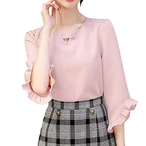 LeeMon Kleid Damen Rüschen Chiffon Hemd? LeeMon Frauen Sommer Arbeit Büro V-Ausschnitt Rüschen Ärmel Solide Chiffon Bluse Shirt Top