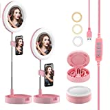 Portable Selfie Ring Light with Stand and Phone Holder, 6.5' Dimmable LED Makeup Ring Light with Mirror, 3 Color Modes and 10 Brightness Ring Light for Live Stream/Photography/Video Recording (Pink)
