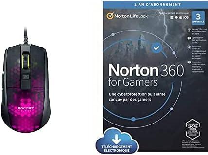 Roccat Burst Pro – Souris de Jeu Optique Pro Ultra-légère + Norton 360 for Gamers 2021 | 3 Appareils | Cyberprotection puissante optimisée pour Les Gamers