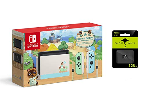 """Nintendo Switch with Green and Blue Joy-Con Console - Animal Crossing: New Horizons Edition - Family Christmas Holiday - 6.2"""" Touchscreen LCD Display, Bluetooth 4.1 + 128GB MicroSD Card Bundle"""