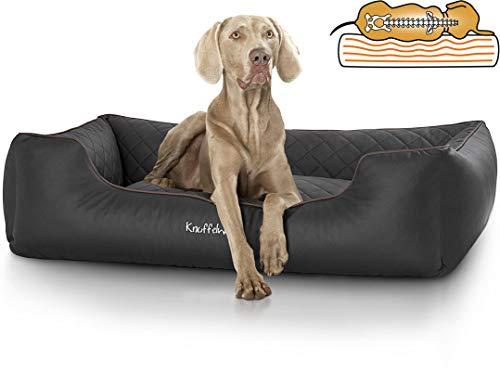 Knuffelwuff orthopädisches Hundebett Madison aus Kunstleder Hundekorb Hundesofa Hundekissen Hundekörbchen waschbar Schwarz grosse Hunde XXXL 155cm x 105cm