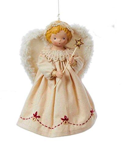 Kurt Adler 7' Fabric Ornament Angel Christmas Tree Topper, Ivory