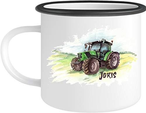 EZYshirt® Traktor mit Wunschnamen | Trecker Aufdruck Emailletasse Kaffeebecher